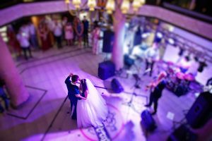 Newly Wedded Couple Enjoying First Dance on Floor